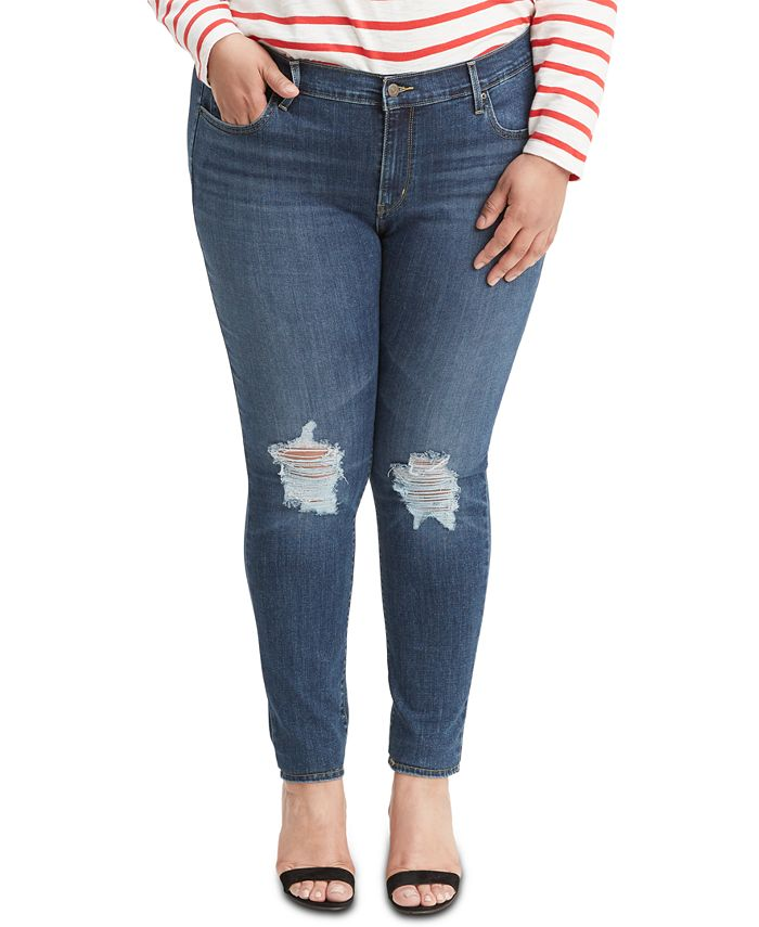 Levi's - Plus Size 711 Outta Time Distressed Skinny Jeans