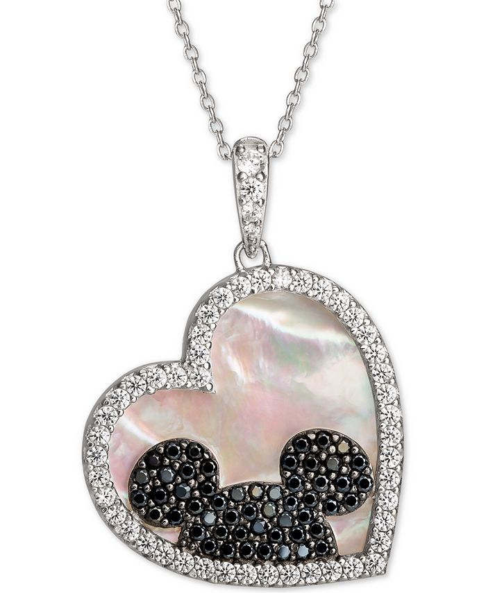 """Disney - Mickey Mouse Cubic Zirconia & Black Spinel Heart 18"""" Pendant Necklace in Sterling Silver"""