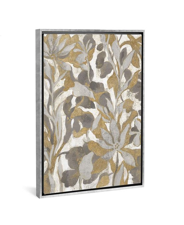 "iCanvas Painted Tropical Screen I Gray Gold by Silvia Vassileva Gallery-Wrapped Canvas Print - 26"" x 18"" x 0.75"""