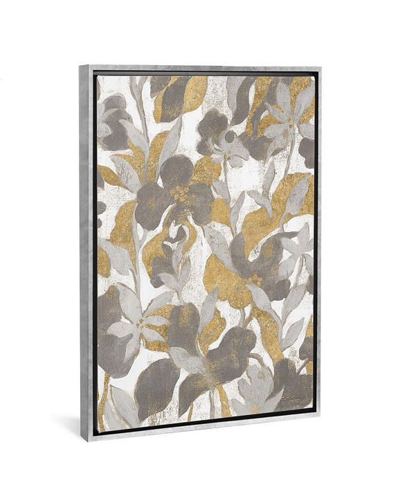 """iCanvas Painted Tropical Screen Ii Gray Gold by Silvia Vassileva Gallery-Wrapped Canvas Print - 40"""" x 26"""" x 0.75"""""""