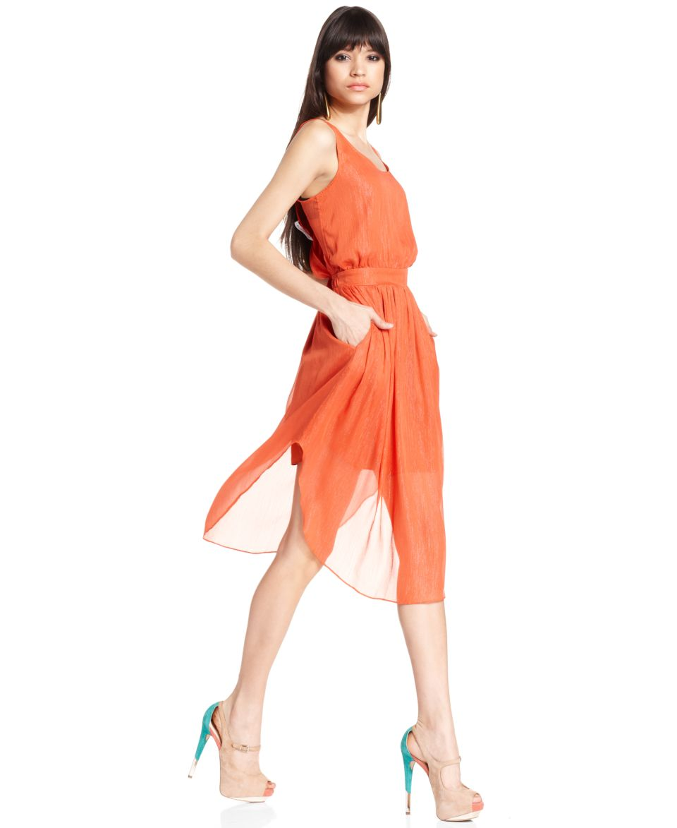 BCBGeneration Dress, Sleeveless Scoop Neck Metallic Midi   Dresses   Women