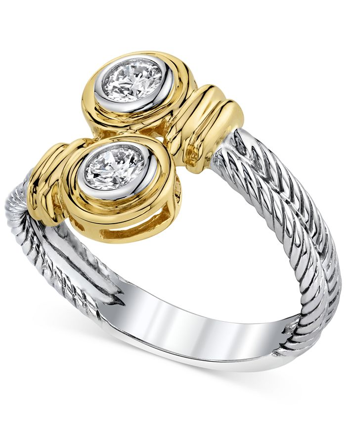 Macy's - 14k Two-Tone Gold Diamond Twist Ring (1/3 ct. t.w.)