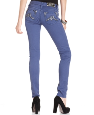 Miss Me Jeans, Skinny Colored Denim Rhinestone Embroidered