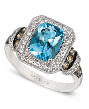 Le Vian 14k White Gold Ring, Aquamarine and White and Chocolate Diamond Ring (1-9/10 ct. t.w.)