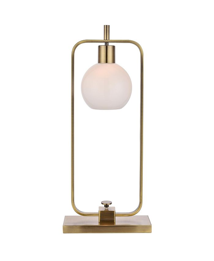 Harp & Finial - Crosby Table Lamp Antique Brass Finish on Metal Body Opal Glass Shade