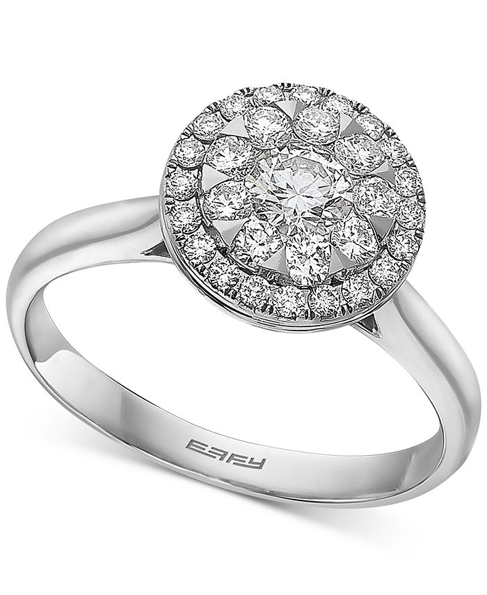 EFFY Collection - Diamond Halo Cluster Engagement Ring (3/4 ct. t.w.) in 14k White Gold