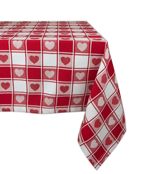 "Design Imports Woven Check Hearts Tablecloth 60"" x 84"""