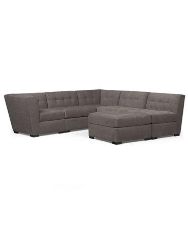 Roxanne fabric 6 piece modular sectional sofa 2 corner for Roxanne sectional sofa macy s