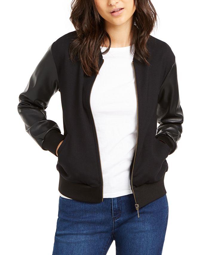 Michael Kors - Leather Sleeve Bomber Jacket, Regular & Petite Sizes