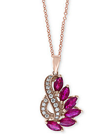 """EFFY® Ruby (2 ct. t.w.) & Diamond (1/5 ct. t.w.) 18"""" Pendant Necklace in 14k Rose Gold"""