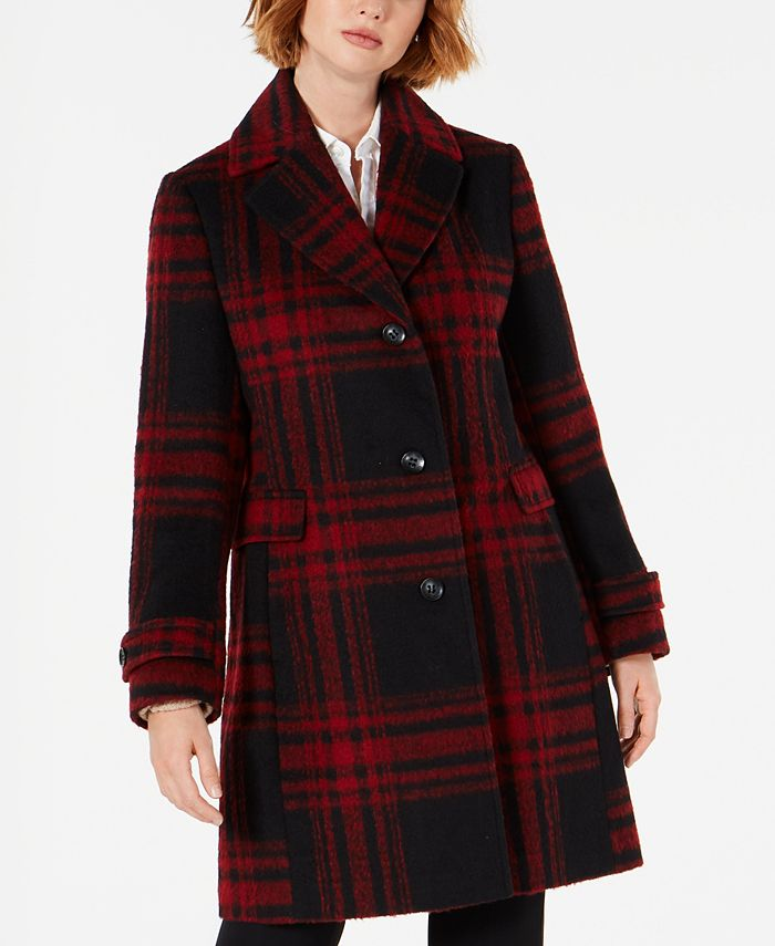 Vince Camuto - Single-Breasted Plaid Coat, Created for Macys