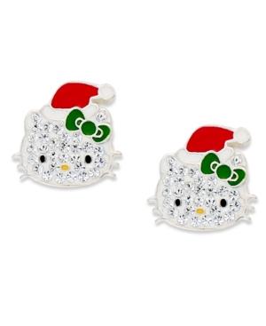 Hello Kitty Sterling Silver Earrings, Christmas Crystal Stud Earrings