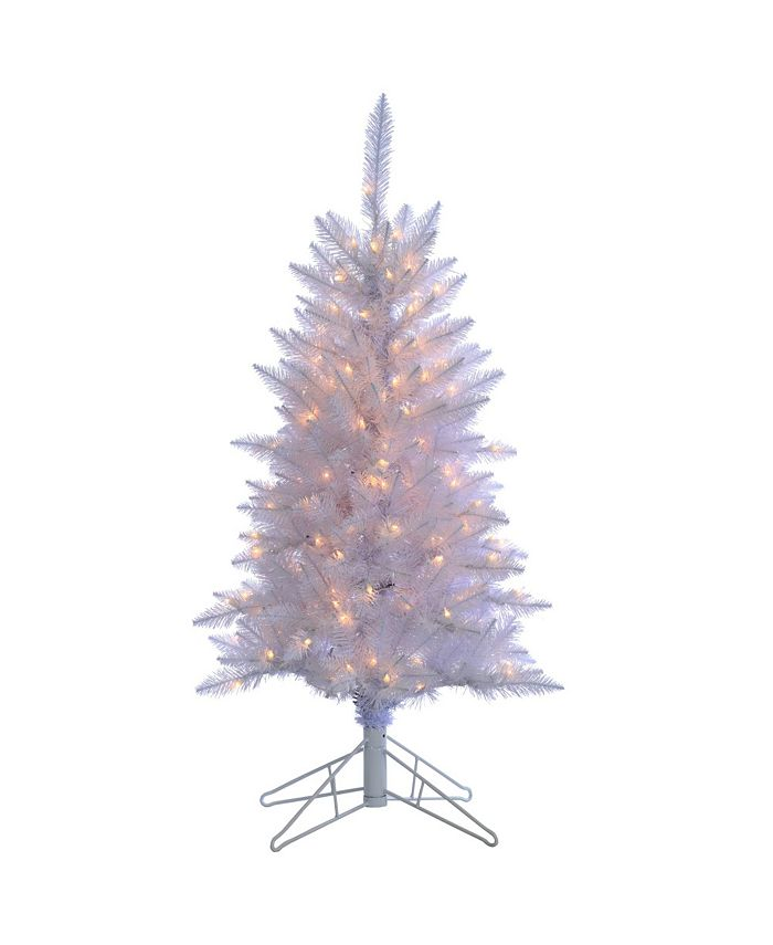 Sterling - 4Ft. White Tiffany Tinsel Tree with 150 clear lights