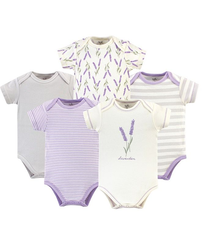 Touched by Nature Organic Cotton Bodysuit, 5 Pack, Lavender, 9-12 Months