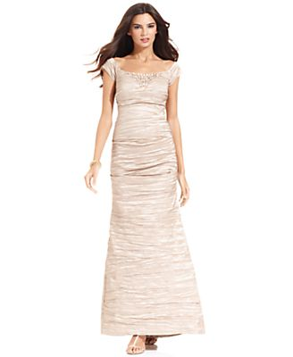 Alex Evenings Dress, Cap-Sleeve Beaded Crinkled Taffeta Gown