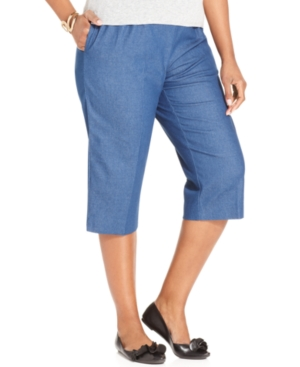 Alfred Dunner Plus Size Pants, Pull-On Capri
