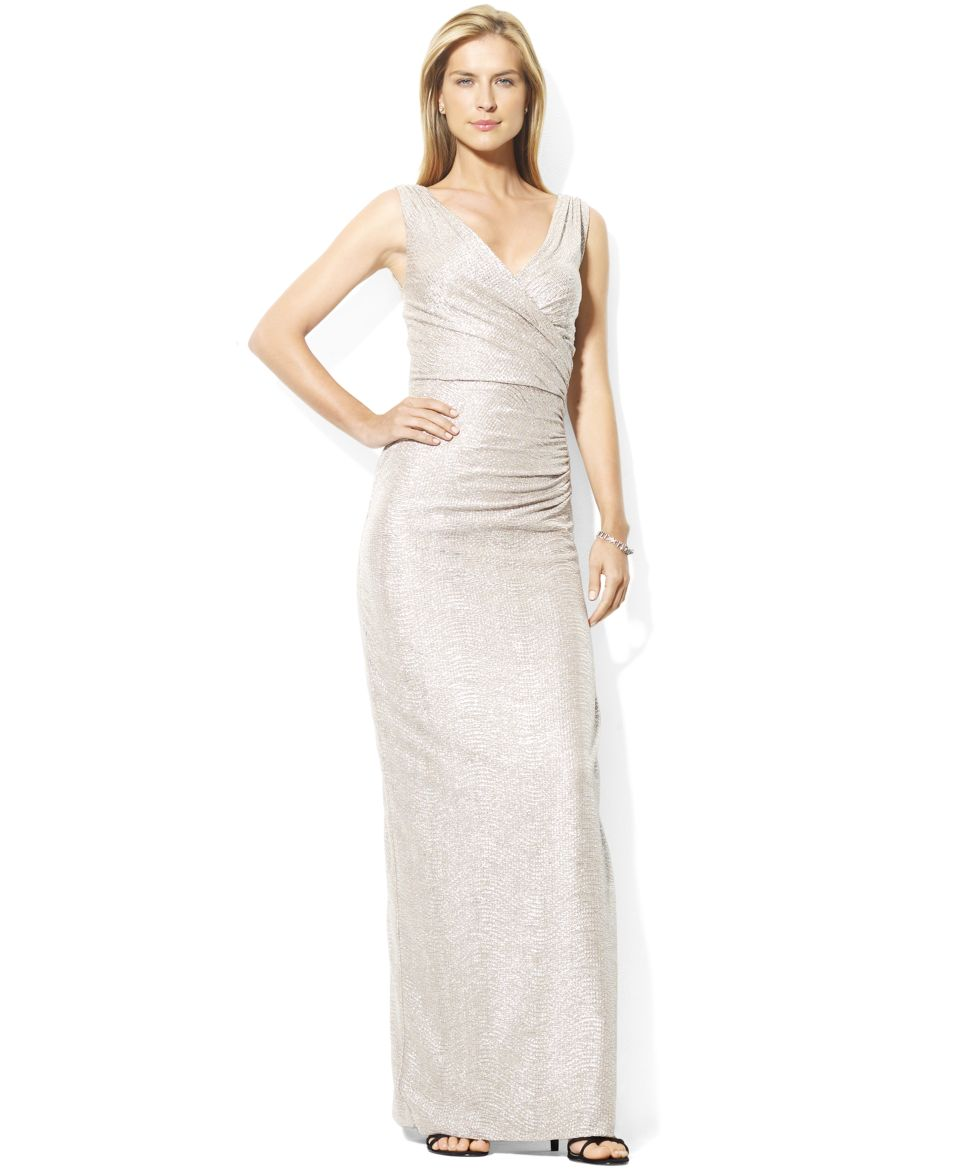 Lauren Ralph Lauren Petite Dress, Sleeveless Metallic Jersey Gown   Dresses   Women