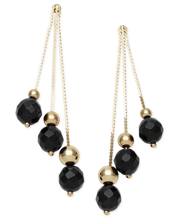 Macy's - 14k Gold Earrings, Faceted Onyx 3-Drop Earrings (9 ct. t.w.)