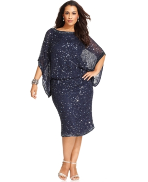 Patra Plus Size Kimono-Sleeve Beaded Dress