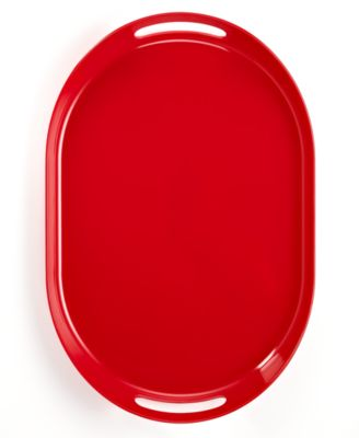 QSquared Serveware, Q Red Melamine Oval Serving Tray