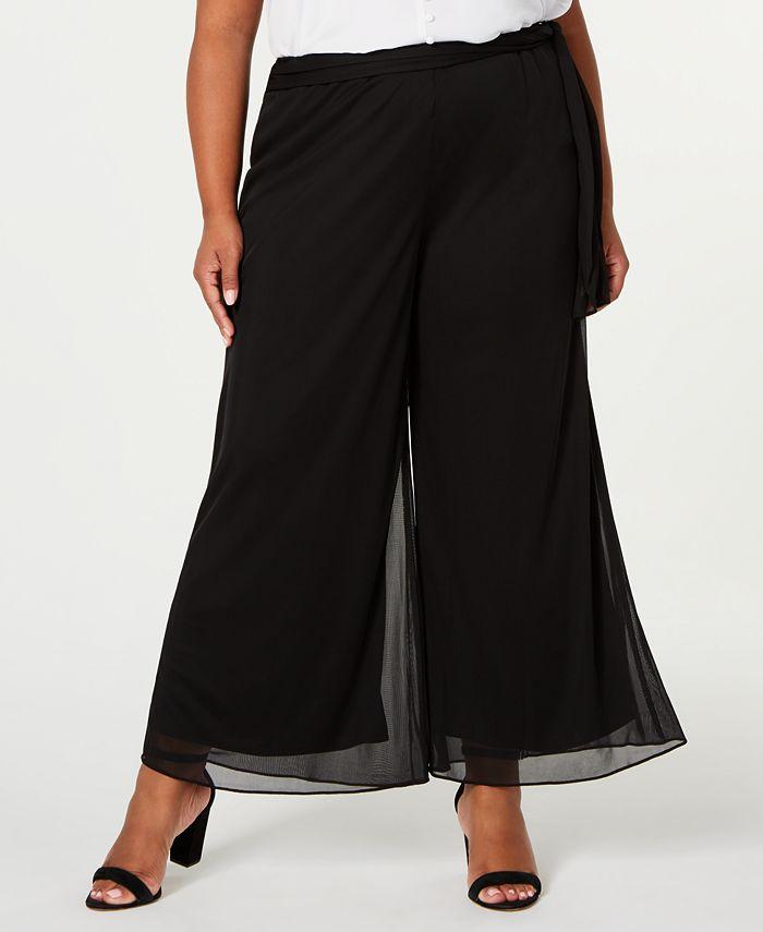Alex Evenings - Plus Size Mesh Waist-Tie Pants