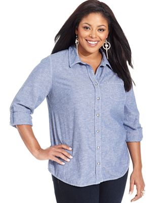 Dkny Jeans Plus Size Top Roll Tab Sleeve Chambray Shirt