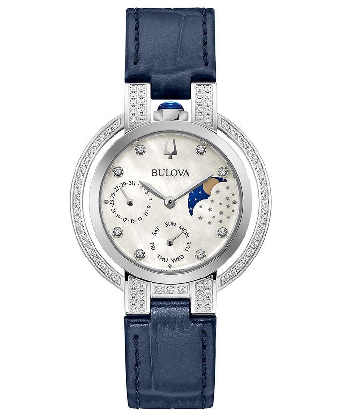Bulova - Women's Rubaiyat Blue Leather Strap Watch 35mm