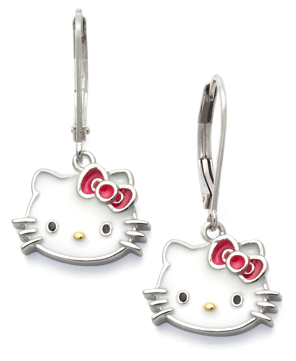 Hello Kitty Sterling Silver Earrings, Enamel Leverback Earrings   Earrings   Jewelry & Watches