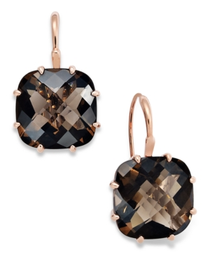14k Rose Gold Earrings, Smokey Quartz Checkerboard Leverback Earrings (19-1/3 ct. t.w.)