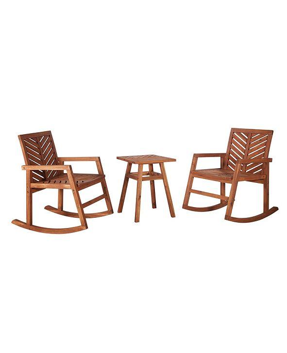 Walker Edison 3 Piece Outdoor Rocking Chair Chat Set