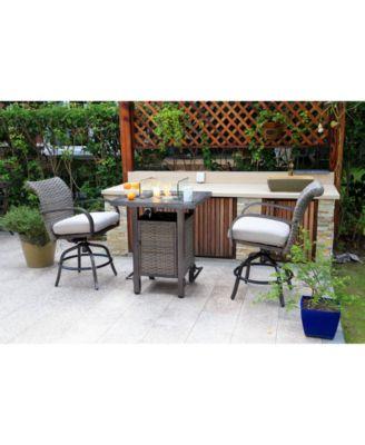Cane Estates Aluminum 3-Pc. Gathering Height Bar Set (Bar Table with Fire Pit & 2 Swivel Stools)