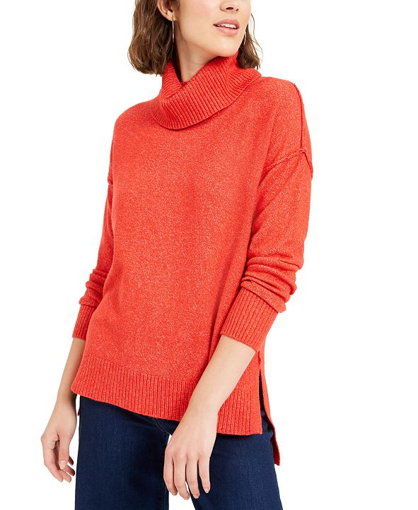 Bar III Becca Tilley x Turtleneck High-Low Sweater, Created for Macy's