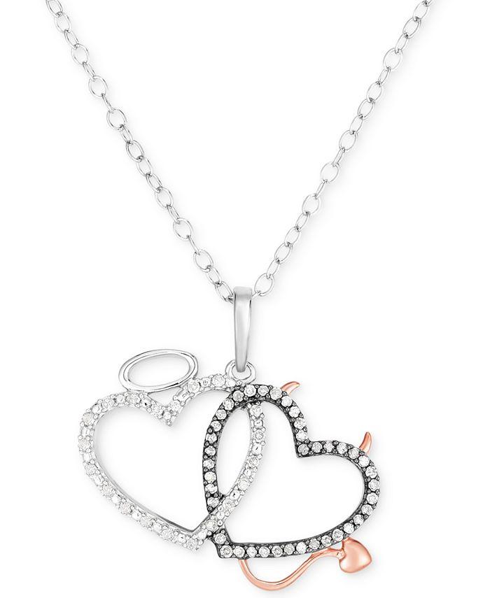 "Macy's - Diamond Angel & Devil Double Heart 18"" Pendant Necklace (1/6 ct. t.w.) in Sterling Silver & 14k Rose Gold-Plate"
