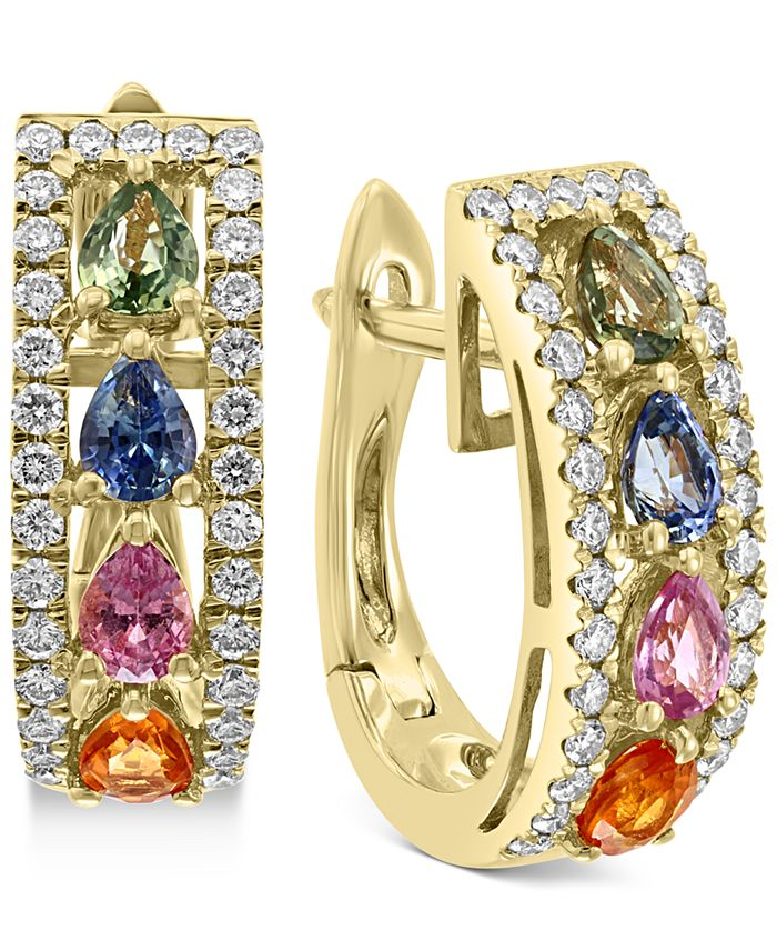 EFFY Collection - Multi-Sapphire (1-7/8 ct.t.w.) and Diamond (1/2 ct.t.w.) Hoop Earrings in 14k Gold