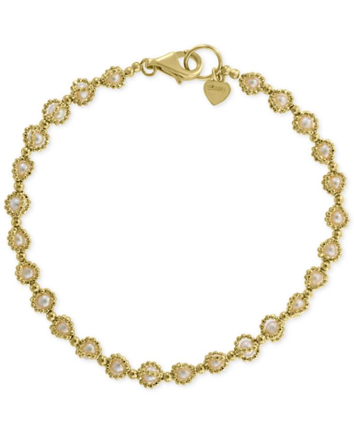 EFFY Collection EFFY® Cultured Freshwater Pearl (3mm) Link Bracelet in 18k Gold-Plated Sterling Silver & Reviews - Bracelets - Jewelry & Watches - Macy's
