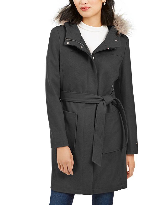 Tommy Hilfiger - Hooded Faux-Fur-Trim Belted Coat