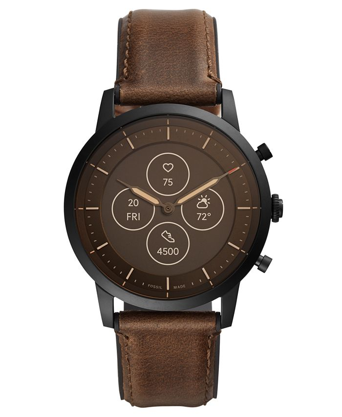 Fossil - Men's Collider Brown Leather Strap Hybrid Smart Watch 42mm