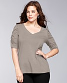 INC International Concepts Plus Size Top Short-Sleeve Ruched Jersey Tee