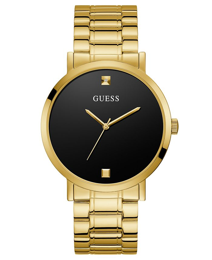 GUESS - Men's Diamond-Accent Gold-Tone Stainless Steel Bracelet Watch 44mm