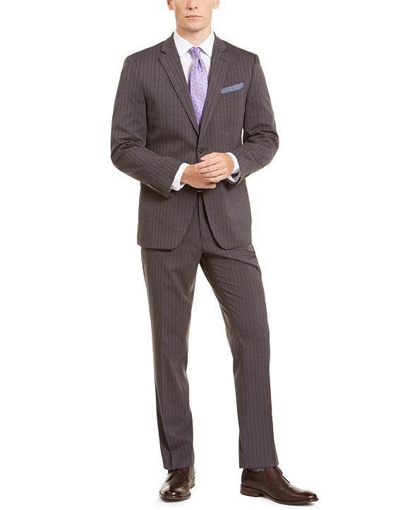 Perry Ellis Men's Slim-Fit Stretch Dark Gray/Blue Stripe Suit