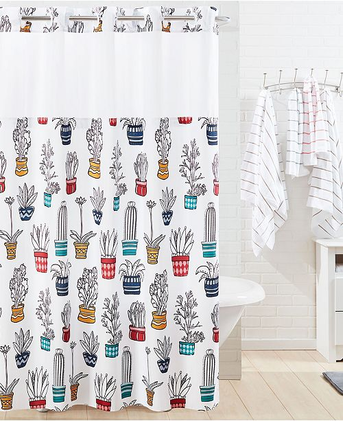 Hookless Shower Curtain Cactus & Reviews   Shower Curtains   Bed