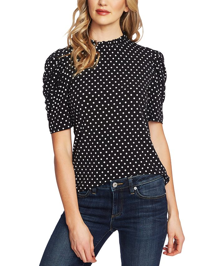 CeCe - Ruched Polka-Dot Top