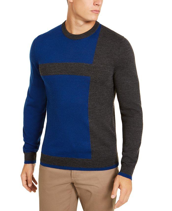 Alfani - Men's Distressed Blocked Crewneck Sweater