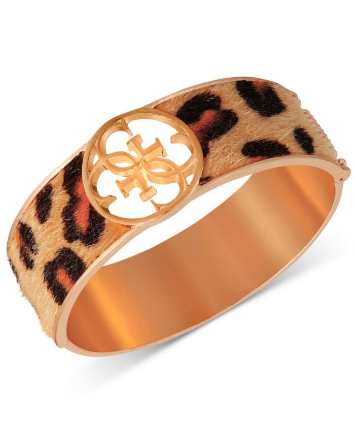 GUESS Gold-Tone Cheetah-Print Faux-Fur Animal Print Bangle Bracelet & Reviews - Bracelets - Jewelry & Watches - Macy's