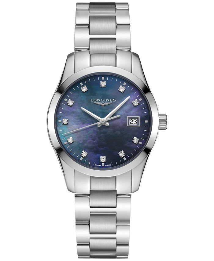 Longines - Women's Swiss Conquest Classic Diamond Accent Stainless Steel Bracelet Watch 34mm