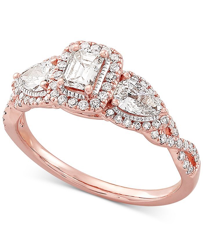 Macy's - Diamond Halo Engagement Ring (1 ct. t.w.) in 14k Rose Gold