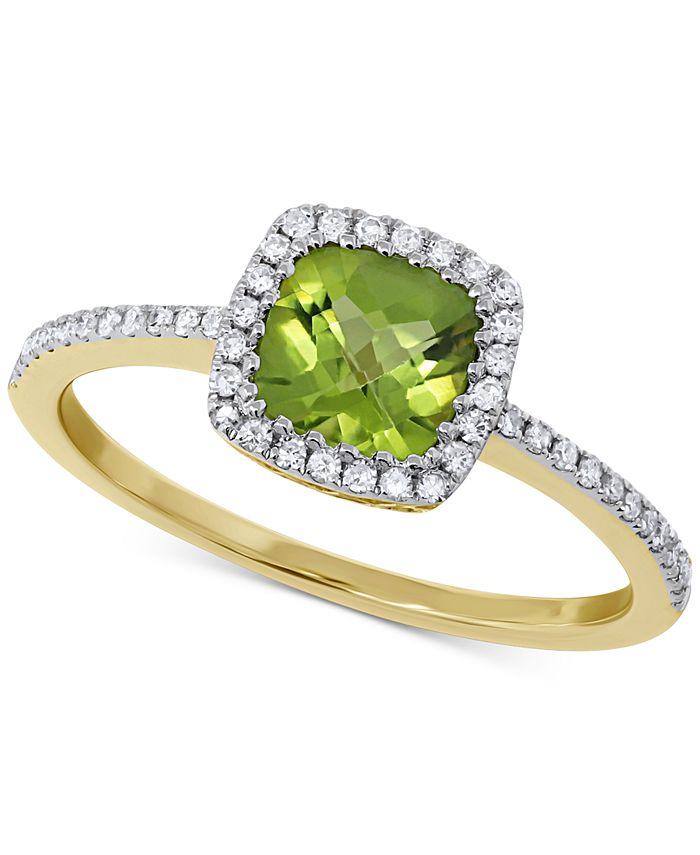 Macy's - Peridot (1 ct. t.w.) & Diamond (1/5 ct. t.w.) Ring in 14k Gold