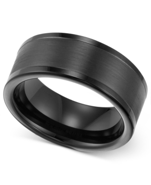 Triton Men's 8mm Black Tungsten Wedding Band