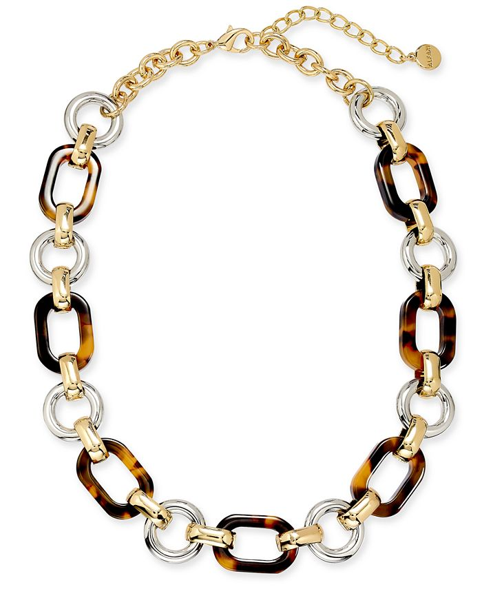 """Alfani - Two-Tone & Tortoise-Look Chain Link Collar Necklace, 17"""" + 2"""" extender"""