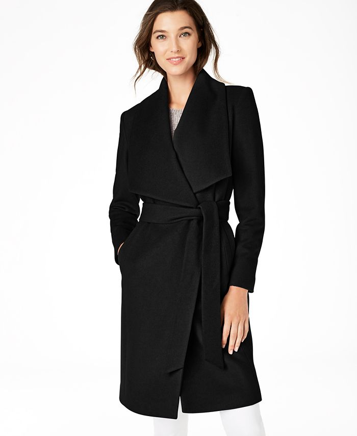 Cole Haan Petite Belted Wrap Coat Reviews Coats Petites Macy S